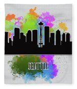 Seattle Skyline Silhouette Fleece Blanket