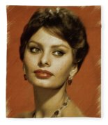 Sophia Loren, Vintage Actress Fleece Blanket
