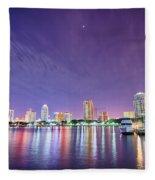 St Petersburg Florida City Skyline And Waterfront At Night Fleece Blanket