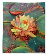 Teal And Peach Waterlilies Fleece Blanket