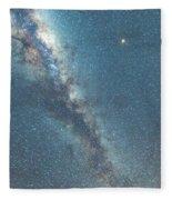 The Milky Way And Mars Fleece Blanket