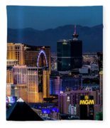 the Strip at night, Las Vegas Fleece Blanket
