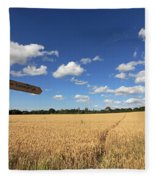 Tracks Through Golden Wheat Field Fleece Blanket