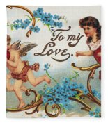 Valentines Day Card Fleece Blanket