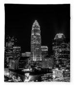 View Of Charlotte Skyline Aerial At Sunset Fleece Blanket