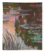 Water Lilies, Setting Sun Fleece Blanket