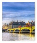 Westminster Bridge And Big Ben Fleece Blanket
