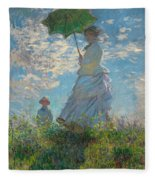 Woman With A Parasol - Madame Monet And Her Son Fleece Blanket