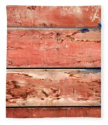 Wood Background With Faded Red Paint Fleece Blanket