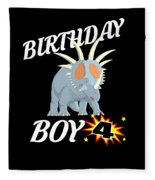 4 Years Old Birthday Design Dinosuar Shirt Fleece Blanket