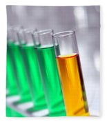Test Tubes In Science Research Lab Fleece Blanket