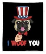4th Of July Usa Indepedence Day Patriotic Uncle Sam Pug Dog Fleece Blanket