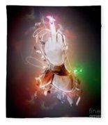 An Obscene Hand Sign Fleece Blanket