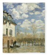 Boat In The Flood At Port Marly Fleece Blanket