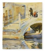 Bridge With Figures Fleece Blanket