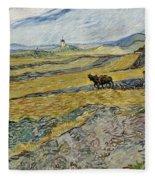 Enclosed Field With Ploughman Fleece Blanket