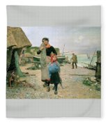 Fisherfolk Returning With Their Nets 1882 Henry Bacon Fleece Blanket