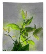 Fresh Growth Of Healthy Green Leafs  Fleece Blanket