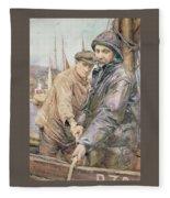 Hauling In The Net Henry Meynell Rheam Fleece Blanket