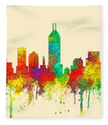 Indiana Indianapolis Skyline Fleece Blanket