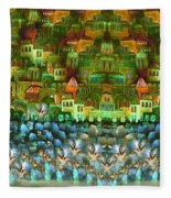 Jerusalem -watercolor On Parchment Fleece Blanket