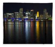 Miami Downtown Skyline Fleece Blanket