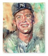 Mickey Mantle Portrait Fleece Blanket