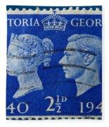 Old British Postage Stamp Fleece Blanket