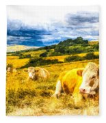 Resting Cows Art Fleece Blanket