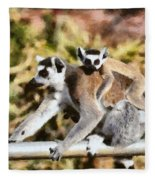 Ring Tailed Lemur With Baby Fleece Blanket