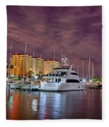 St Petersburg Florida City Skyline And Waterfront At Night Fleece Blanket