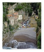 This Is A View Of Furore A Small Village Located On The Amalfi Coast In Italy  Fleece Blanket
