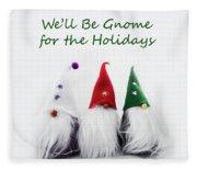 Three Holiday Gnomes 2a Fleece Blanket