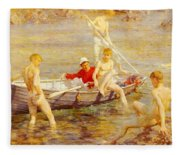 Tuke Henry Scott Ruby Gold And Malachite Henry Scott Tuke Fleece Blanket