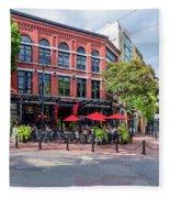 Outdoor Cafe In Gastown, Vancouver, British Columbia, Canada Fleece Blanket