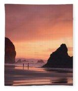 View Of Oregon Fleece Blanket