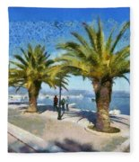 Walkway In Nafplio Town Fleece Blanket