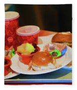 50's Style Food Malt Hamburger Tray  Fleece Blanket