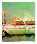 57 Chevy Nomad Wagon Blowing Beach Sand Fleece Blanket
