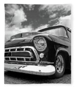 57 Stepside Chevy In Black And White Fleece Blanket