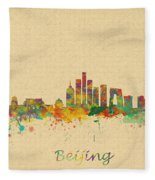Beijing China Skyline Fleece Blanket