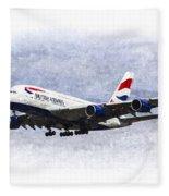 British Airways Airbus A380 Art Fleece Blanket