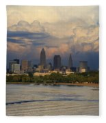 Cleveland Skyline From A Distant Park Fleece Blanket