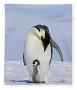 Emperor Penguin And Chick Fleece Blanket
