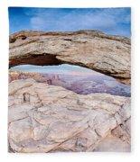 famous Mesa Arch in Canyonlands National Park Utah  USA Fleece Blanket