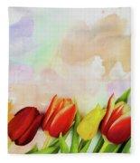 Flower Frame Border Fleece Blanket