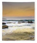 Hazy Dawn Seascape With Rocks Fleece Blanket