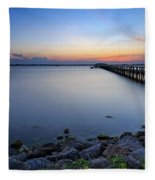 Melbourne Beach Pier Sunset Fleece Blanket
