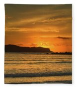 Orange Sunrise Seascape Fleece Blanket
