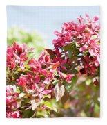 Pink Cherry Flowers Fleece Blanket